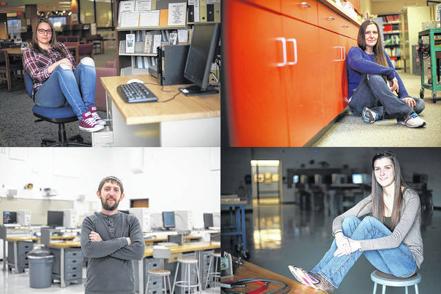 Students enrolled in SSCC engineering programs share their stories with those who may be considering a similar pathway: (clockwise from top left) Dawn Pollock, Tiffany Brownlee, Courtney Ridenour, and Brandon Burke.