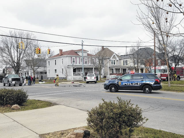 A two-vehicle accident at the intersection of Temple and Hinde streets in Washington Court House left the road blocked Wednesday afternoon as the Washington Fire and Police departments responded to the scene. No additional information was available as of press time Wednesday.