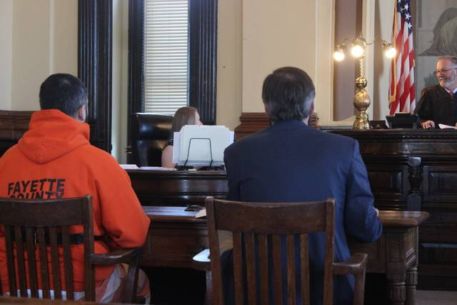 Holden A. Whaley, 29, Washington C.H. (seated left), appeared for a final pretrial on charges of aggravated trafficking drugs, fourth degree felony, aggravated possession of drugs, fifth degree felony. According to the state, discovery is complete. Whaley's defense attorney, Thomas Arrington (seated right) said reciprocal discovery is due from the defense by March 30 and requested more time ahead of trial. The final pretrial was continued to May 9.