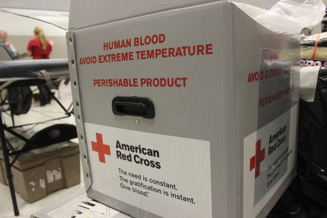 Units of donated blood were stored in portable coolers for transportation back to the Red Cross lab this evening in Columbus.