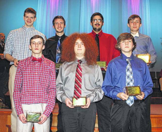 The Frontier Athletic Conference honored the top bowlers for the 2017-18 season at its first winter sports banquet Monday, March 19, 2018 at Grace Community Church. Above are the First Team, All-FAC bowlers. (in front, l-r, bowlers from FAC co-champion Hillsboro Indians, Christian McConehea, Andrew Louderback and Hayden Miller; (in back, l-r); Austin Knisley and Brandon Underwood of Washington High School and Jackson Perkins and Andrew Amore of co-champion Miami Trace High School. Amore was named the Bowler of the Year.