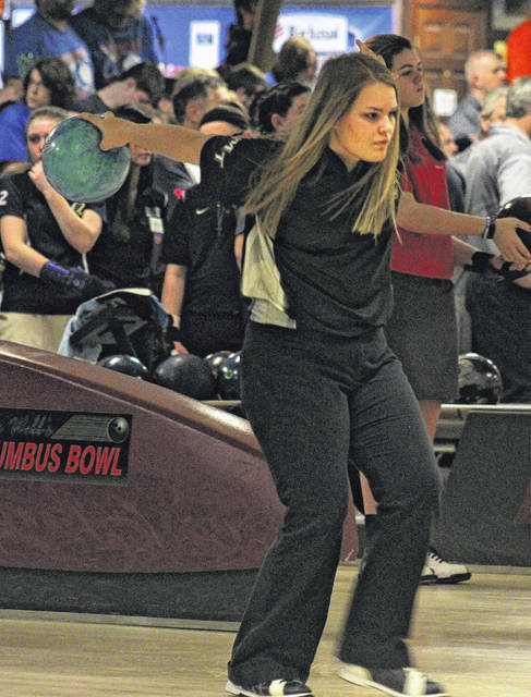 Miami Trace freshman Gabby McCord prepares to release the ball during the Division II State bowling tournament at Wayne Webb's Columbus Bowl Saturday, March 3, 2018.