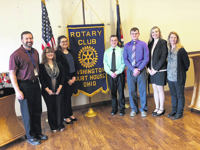 On Feb. 20, the Washington Court House Rotary Club held its annual 4-Way Test Speech contest at the Crown Room in Washington C.H. Students competing were Washington Court House City Schools (WCHCS) students Madison Newman and Abigail Sever, and Miami Trace Local Schools students Dylan Lovett, Jack Anders and Khenadi Grubb. First place winner was Sever, who spoke about addiction to cell phones. Second place winner was Anders who described his opportunity to go to school for John Deere. Third place was Lovett, whose speech was about the importance of FFA and Vocational Agriculture to his life. Winners received $100, $50 and $25 for first, second and third place. The first place winner will go on to the district contest. Pictured (L to R): WCHCS teacher Shane Donnenwirth, WCHCS students Madison Newman and Abigail Sever, Miami Trace students Dylan Lovett, Jack Anders and Khenadi Grubb with speech teacher Shari West.