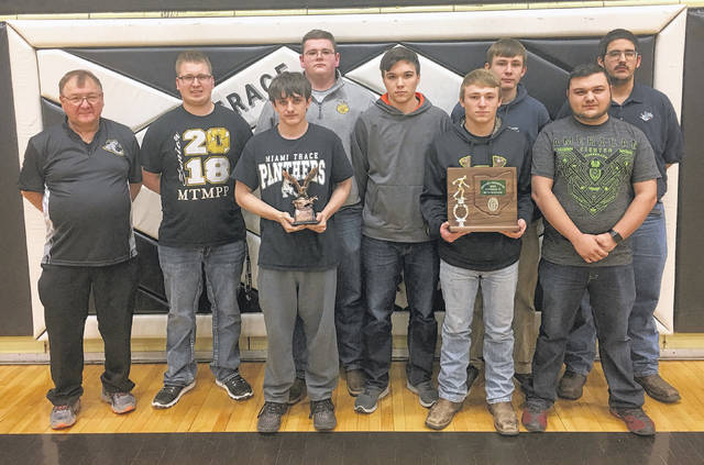 Miami Trace Panthers bowling team (front, l-r); James Alyson, Jay Caudill, Blake Bradshaw; (back, l-r); Coach Ron Amore Sr., Quinton Waits, Charley Milstead, Mike West, Andrew Amore and Jackson Perkins. Not pictured: Tony Alltop.