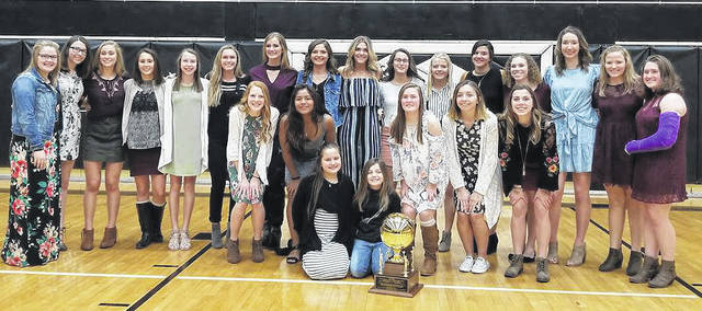 Miami Trace held a girls basketball banquet Wednesday, March 21, 2018. The team is pictured in the gymnasium with their gold basketball for winning the Frontier Athletic Conference with a record of 10-0. (in front, l-r); ball girls, Zoey Grooms and Gracie Lovett; (middle, l-r); Magarah Bloom, Shania Villaruel, Becca Ratliff, Krissy Ison and Gracee Stewart; (back, l-r); Ella Coe, Piper Grooms, Olivia Fliehman, Regan Barton, Aubrey McCoy, Tori Evans, Victoria Fliehman, Morgan Miller, Tanner Bryant, Shaylee McDonald, Cassidy Lovett, Olivia Wolffe, Gracie Bapst, Aubrey Wood, Addy Little and Aubrey Schwartz.