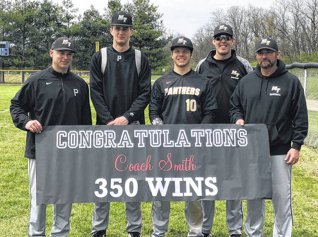 Miami Trace varsity baseball coach Rob Smith, right, with his coaches and two seniors after his 350th career coaching victory at Chillicothe Saturday, April 21, 2018. (l-r); Lee Layman, Darby Tyree, Brady Wallace, Matt Platt and Smith.