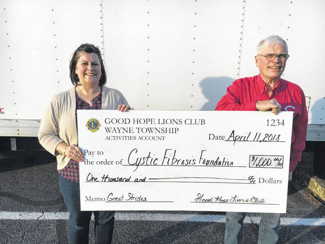 The Good Hope Lions Club recently donated $1,000 to the Cystic Fibrosis Foundation. Pictured is Chyane Collins and Jim Garland.