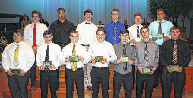 The Frontier Athletic Conference held its first-ever winter sports banquet on March 19, 2018 at Grace Community Church. The First Team wrestlers in 14 weight divisions were among the student-athletes recognized. In the first row, the third through seventh wrestlers pictured are from Miami Trace (l-r); Graham Carson, Mcale Callahan, Storm Duffy, Jaymon Flaugher and Jack Anders; (in back, the last two at right are (l-r)); Will Baughn and Colten McNichols of Washington High School.