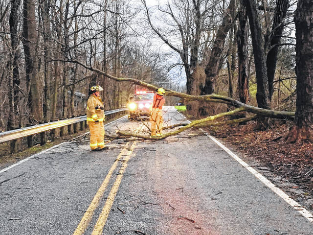 Firefighters cleared a tree of Flakes Ford Road Tuesday evening following severe thunderstorms