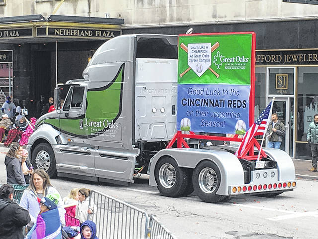 Laurel Oaks students created this show truck, which participated in the annual Findlay Market Parade to celebrate the beginning of the Cincinnati Reds baseball season.