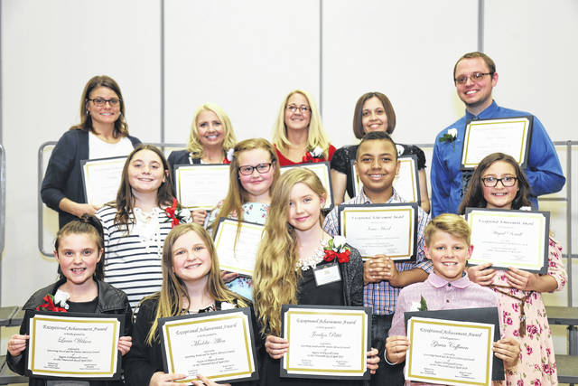 Individuals from Fayette County were honored recently at the Region 14/Hopewell Center 35th-annual Exceptional Achievement Award Recognition Ceremony at Hillsboro Elementary. Pictured (L to R): front row: Lucia Wilson, Maddie Allen, Jocelyn Pettit and Gavin Coffman. Middle row: Scotti Quigley, Allison Ervin, Isaac Hood and Abigail Dowell. Back row: Amy O'Dierno, Ginger Hixson, Rachel Brobeck, Lasionna Scruggs and Matt Melnek. Not Present: Katelyn Chester.