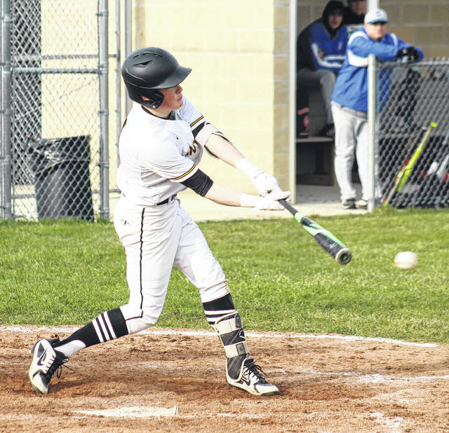 Miami Trace's Heath Cockerill puts the ball in play during a Frontier Athletic Conference game against Chillicothe Thursday, April 5, 2018. Cockerill hit a double and drove in the Panthers' only run in a 14-1 loss to the Cavs.