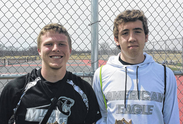 Miami Trace's Adam Ginn, left and Jonathan Allen, won the second doubles title at the Logan Elm Invitational Saturday, April 21, 2018.