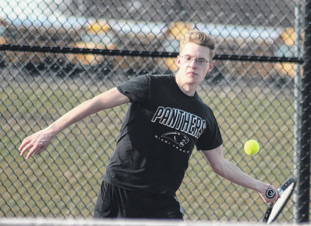 Nathan Taylor makes the return for Miami Trace in his second singles match against Unioto Thursday, April 12, 2018 at Miami Trace High School.