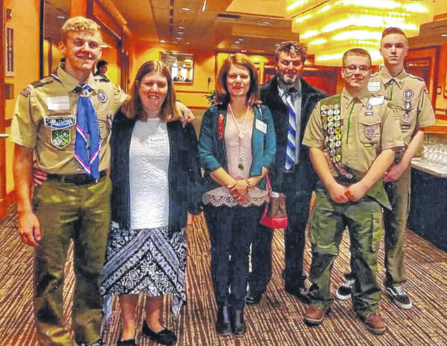 These boys were among 29 from the Ohio Valley District, which is part of the Simon Kenton Council. Pictured (L to R): Nathaniel Horton, Tracy Horten, Elizabeth Arledge, Kevin Arledge, Ryan Arledge and Jacob Downing.