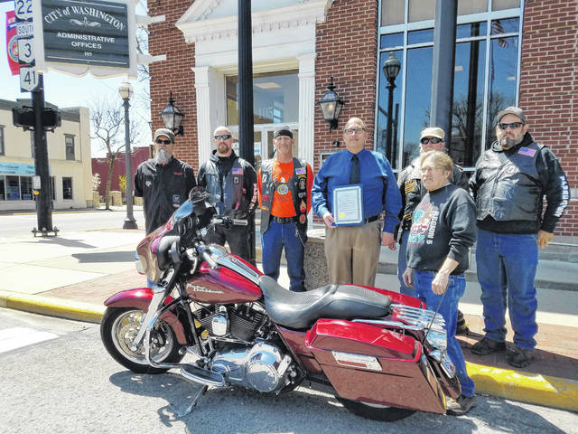 Several representatives of county motorcycle rider organizations joined the City of Washington Court House on Monday to recognize Motorcycle Awareness Month. Pictured (L to R): back row: Kenneth Thacker, representative of the Southern Ohio Buckeye Biker Rally, Kenneth Harmon, representative from the VFW Post 3762 Riders, Mike Mallow, president of the American Legion Post 25 Riders, Joe Denen Washington Court House City Manager, John Everhart, vice president of the VFW Riders, and Mike Yoho, member of the VFW Riders. Front row: Richard Williams, representing American Brotherhood Aimed Toward Education (ABATE) organization.