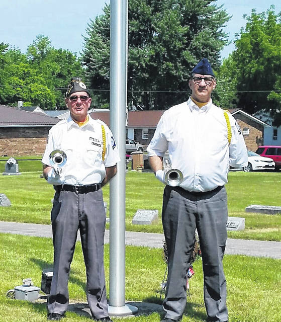 Veterans Larry Bishop and Zeke Zastrow were the buglers at each Memorial Day service in Washington C.H. Monday.
