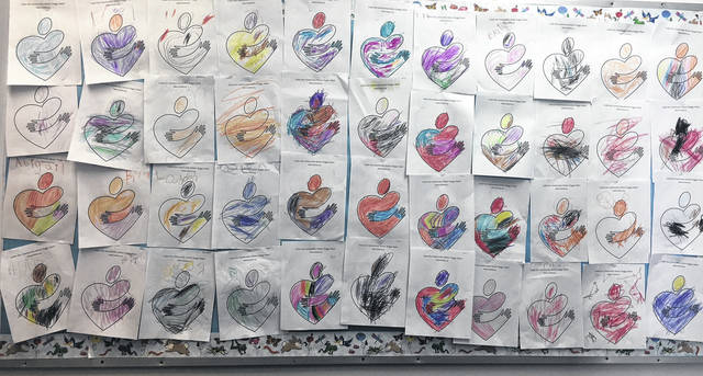 "In recognition of May as National Community Action Month, the Head Start Program had their students color ""huggy hearts"" as a way of helping celebrate the good things they do right here in the community."