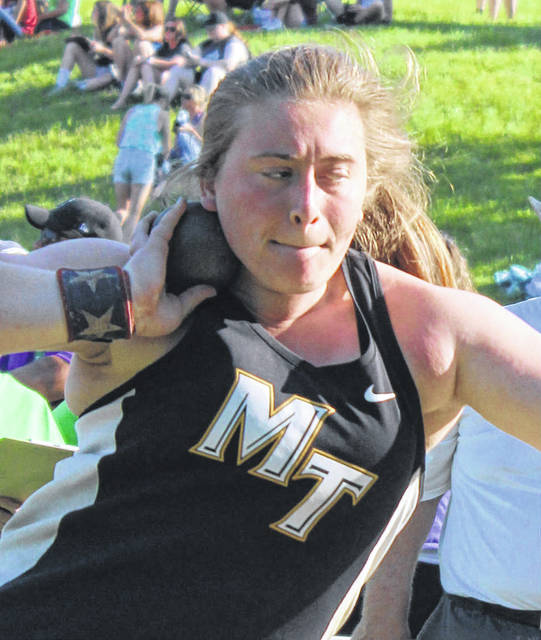 """Miami Trace's Katie Seyfang won the Regional shot put Thursday at Muskingum University with a throw of 41' 10 1/2"""". She will compete at State next weekend."""