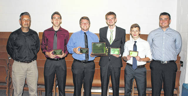 The Miami Trace Panthers tennis team won the first-ever Frontier Athletic Conference spring tennis championship in 2018. Players who were named First Team, All-FAC and coaches were on hand to pick up their team trophy and individual plaques at the conference's spring sports banquet Monday, May 21 at Grace Community Church. (l-r); head coach Greg Leach, Johnathan Allen, Adam Ginn, Player of the Year Matt Fender, Paul Natzschka and assistant coach Seth Leach.