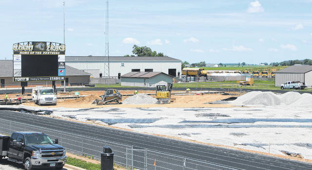 Work continued Tuesday on the new football field at Miami Trace High School. Many tons of stone are being placed onto the field. The work is ahead of schedule at this time, according to Miami Trace Athletic Director Aaron Hammond. Please see today's sports for more pictures of the field under construction.