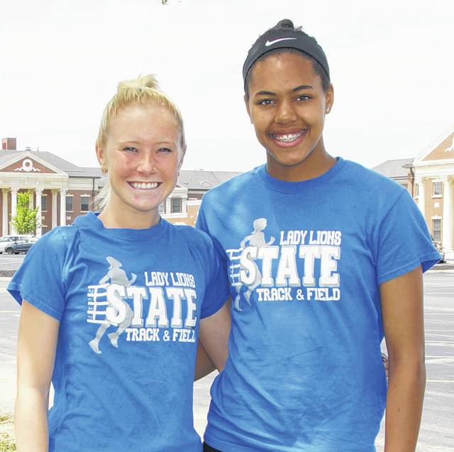 Maddy Garrison, left, and Rayana Burns are returning to the State track meet this Friday and Saturday for the Lady Lions.