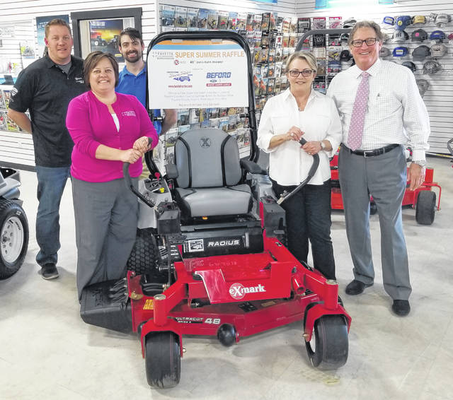 From left to right, Jared Hoop, manager at Baxla Tractor Sales; Whitney Gentry, FCMH Foundation Director; Andrew Daniels, FCMH Foundation board member; Connie and Mark Beford, owners of Beford Ford Lincoln.