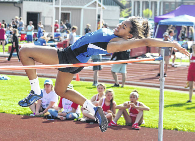 "Washington's Rayana Burns won the Frontier Athletic Conference high jump with a new school record of 5' 7 3/4"" Tuesday, May 8, 2018 at Washington High School."