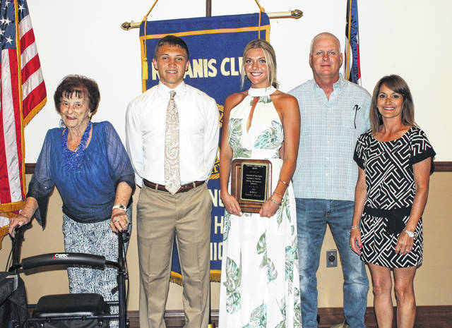 Tanner Bryant, middle, was named the 2018 Clarence A. Christman Award winner Monday evening. The 50th ceremony was held at the Crown Room Banquet Hall in Washington C.H. (l-r); Mary Lou Haines, Blake Pittser, 2017 Christman winner, Bryant and her parents, Mark and Kim Bryant.