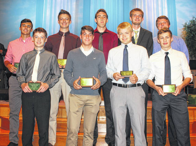 The Frontier Athletic Conference recognized its top tennis players for 2018 at the first-ever spring sports banquet held May 21. (front, l-r); Gabe Gilliland, Hillsboro; Grant Kuhlwein, Washington; Jack Luebbe, Washington; Paul Natzschka, Miami Trace; (back, l-r); Blake Wyatt, Jackson; Jordan Behm, Washington and from Miami Trace, Johnathan Allen, Matt Fender and Adam Ginn. Fender was named the Player of the Year in the FAC.
