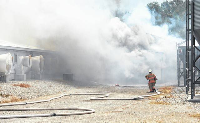 An investigation began Wednesday into this Tuesday fire at Straathof Swine Farm in Wayne Township. The massive fire destroyed the facility and killed approximately 5,000 hogs, according to authorities.