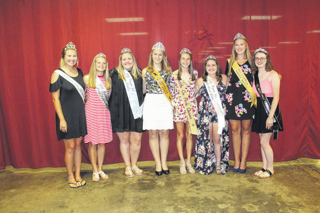 The 2018 Fayette County Fair Commodity Queens also were present during the Queen's Tea on Wednesday. Pictured (L to R): Dog Ambassador Khenadi Grubb, Dairy Princess Anita Pursell, Alpaca Princess Ali Reeves, Beef Queen Victoria Waits, Pork Queen Aubrey McCoy, Small Animal Queen Aubrey Schwartz, Horse Queen Andrea Robinson, and Meat Goat Ambassador Cheyenne Williams.