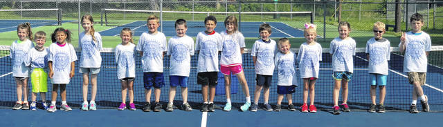 A youth tennis camp, ran by Washington High School girls' tennis coach Samantha Leach, was held Monday through Wednesday of this week on the courts at Gardner Park. Above are the kids in grades K-3 who took part.