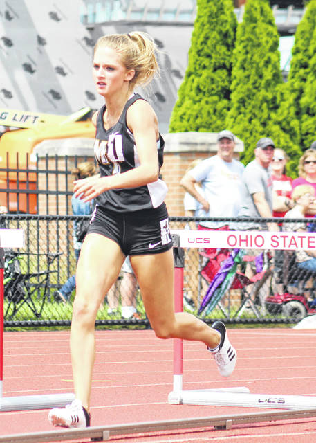 Miami Trace's Macy Creamer strides after clearing a hurdle in the 300-meter semifinals at the Division II State track meet Friday, June 1, 2018 at The Ohio State University.