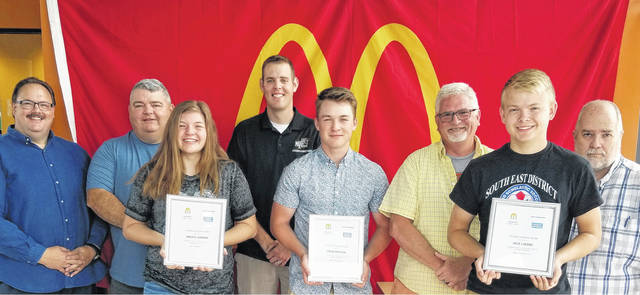 McDonald's of Fayette County recently honored student-athletes from the Washington Court House City Schools and Miami Trace School District from the Spring sports season. The honorees were featured on Facebook live during the McSports Show on the McDonald's Fayette Co. Ohio page. (l-r); Nick Epifano, owner and operator Fayette County McDonald's; Randy Elzey, Washington High School softball coach; Maddy Jenkins, Washington Spring Sports Female Student-Athlete; Matt Platt, Miami Trace Assistant Athletic Director; Drew Batson, Miami Trace Spring Sports Male Student-Athlete; Glenn Price, Washington Assistant boys tennis coach; Jack Luebbe, Washington Male Student-Athlete and Randy Young, Host of McSports Show. Not pictured: Macy Creamer, Miami Trace Female Student-Athlete.