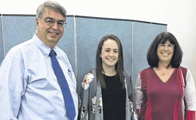The American Association of University Women (AAUW) Washington Court House Branch recently awarded the first Laura Voorhis Memorial STEM Scholarship during its annual banquet. Mark Voorhis and Brenda Riley (right), AAUW Scholarship Committee Chair, with the first AAUW Laura Voorhis Memorial STEM Scholarship recipient, Annie Semler.