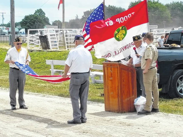 Also part of the ceremony was a flag folding demonstration where the crowd learned the importance of each fold of an American flag.