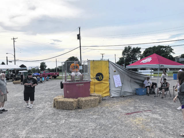 A dunk tank was part of the Jeffersonville July 4 block party on Wednesday evening.
