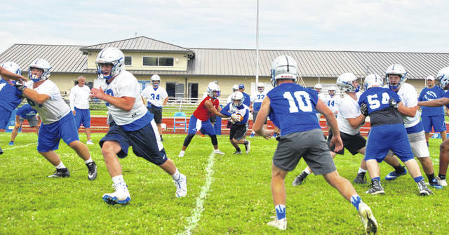 The Washington Blue Lions hit the field for the first day of practice Monday, July 30, 2018. The Blue Lions hold their first preseason scrimmage Saturday, Aug. 11 at Goshen at 10 a.m. They begin the regular season Friday, Aug. 24 at 7 p.m. at Blanchester.