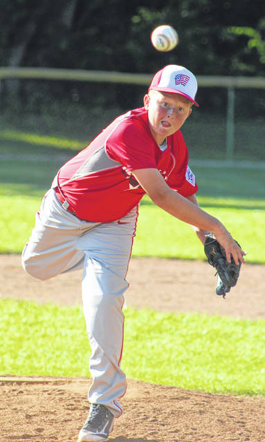 Brady Armstrong delivers a pitch for the Washington C.H. All-Stars during their game against Eaton Friday, July 6, 2018. Along with John Wall and Coleden May, the trio combined for a no-hitter.