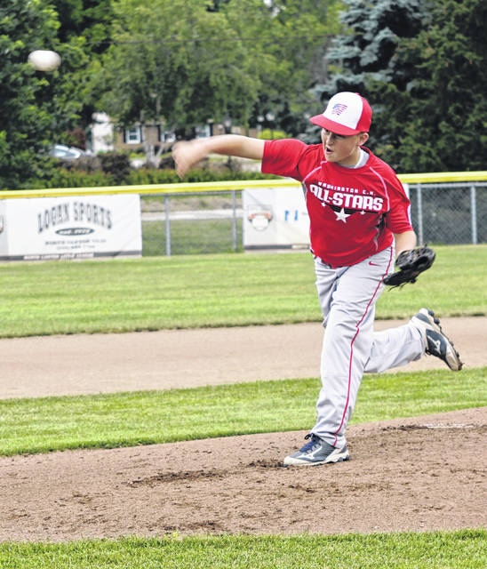 Brady Armstrong delivers a pitch for the Washington C.H. 12u All-Stars in their State Little League game against New Albany in North Canton, Ohio, Saturday, July 21, 2018.