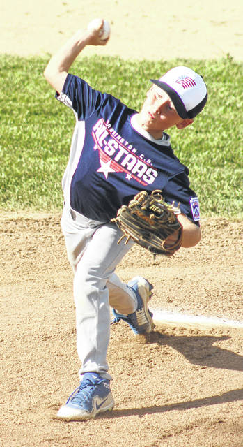 Bryson Heath delivers a pitch for the Washington C.H. 11u All-Stars in their District 8 tournament-opener against Eaton Wednesday, July 18, 2018. Heath pitched four innings to get the win.