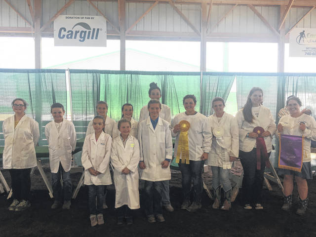 The class winners from Monday's Fayette County Junior Fair Rabbit Showmanship competition: left to right, back row: Mackenna Leasure, Benjamin Mathews, Margo Funderburg, Morgan Cartwright, Sophia Parsons - 5th place, Abi Mick - 4th place, Kandice Mathews - 3rd place, Courtney Dodds - 2nd place, Aubrey Schwartz -1st place; and left-right front row: Alyvia Atkinson, Abby McMahon, Katelyn Bock.  Not pictured: Leah Marine