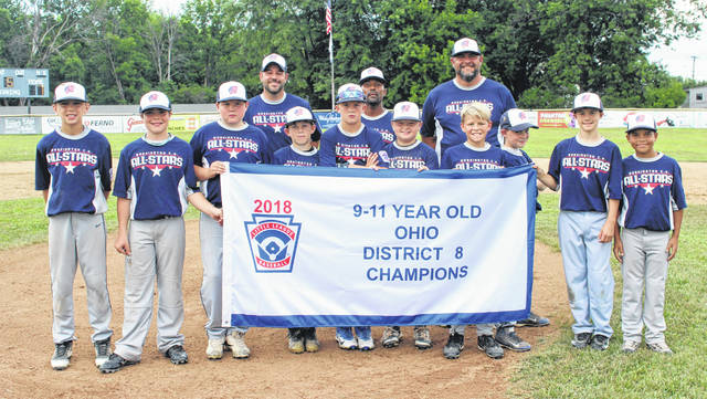 WASHINGTON C.H. 11u ALL-STARS, DISTRICT EIGHT CHAMPIONS — The team on the mound at Lewis Street after a 7-1 championship win over Eaton Sunday, July 22, 2018. (l-r); Trey Robinette, Lafe Coleman, Connor Guthrie, Xavier Lawhorn, Cody Moore, Alex Robinson, Gavin Coffman, Landan StClair, Frank Maddux, Jakob Hoosier; (back, coaches Tyler StClair and Allen Hoosier and manager Nate Robinette. Not pictured: Bryson Heath.