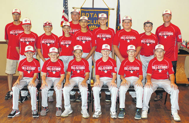The local Rotary Club honored the three Washington C.H. Little League All-Star teams with a luncheon at the Rusty Keg Tuesday, July 10, 2018. Above, the 12-year-old team has already won the District 8 championship. They open play in the Little League State tournament Saturday, July 21 in North Canton. (front, l-r); Will Miller, Hunter Hinkley, Corbin Melvin, John Wall, Justin Robinson, Hunter Allen; (middle, l-r); Brady Armstrong, Evan Lynch, Bryce Yeazel, Isaiah Haithcock, Coleden May, Luke Crabtree, Gabe Wightman; (back, l-r); coach Brian Yeazel, manager Ryan May and coach Greg Wall.