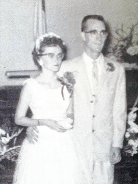 Harrylee and Patty Downing will be celebrating their 60th wedding anniversary on Monday, July 16. They were married in New Holland at the Christian Union Church. Rev. Charles (Bill) Ware performed the ceremony. Both are retired. They are the parents of Keith (Nancy) Downing, grandparents of Jayme (Adam) Holbrook and Joshua (Jenny) Downing, and great-grandparents to Austin and Aubree Holbrook.