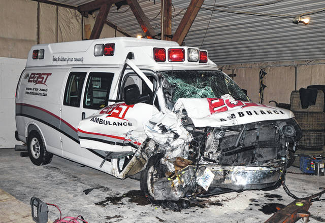 Shown is the ambulance struck head-on by a car near Hillsboro on Monday night.