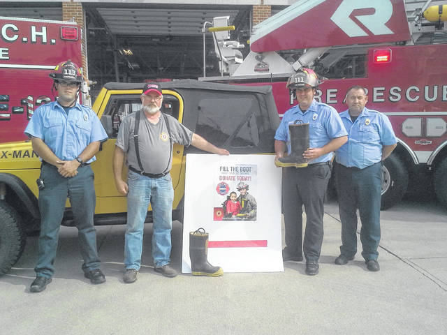"""The Washington Fire Department, with help from Team X-Man, will raise money for the Muscular Dystrophy Association Monday with a """"Fill the Boot"""" event. Pictured are firefighters (in uniform) with the Washington Fire Department and Wayne Turner, Team X-Man member."""
