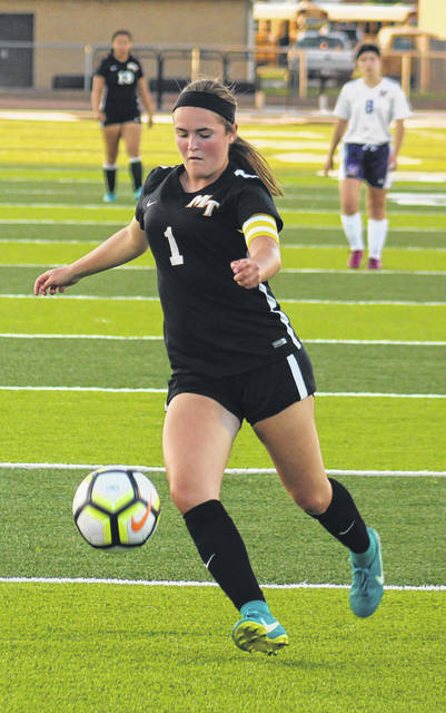 Miami Trace senior Becca Ratliff prepares for a shot on goal during a Frontier Athletic Conference match against McClain Thursday, Aug. 30, 2018 at Miami Trace High School.