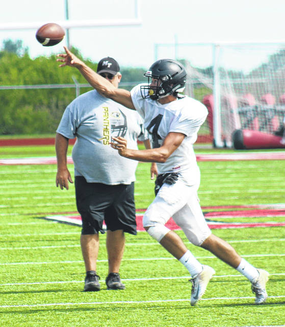 Dalton Mayer throws a pass for Miami Trace during a scrimmage against West Jefferson at London High School Tuesday, Aug. 7, 2018.